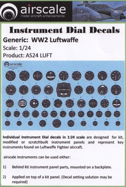 Airscale Details 1/24 WWII Luftwaffe Instrument Dials (Decal)