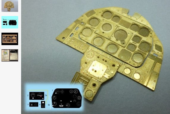 Airscale Details 1/24 P51D Mustang Instrument Panel (Photo-Etch & Decal) for ARX