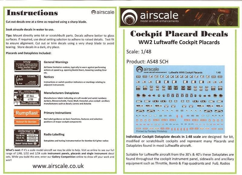 Airscale Details 1/48 WWII Luftwaffe Cockpit Placards & Dataplates (Decal)