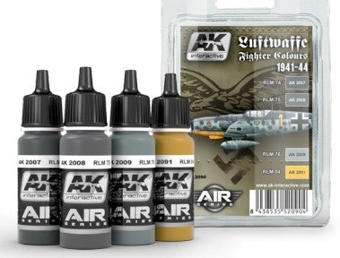 AK Interactive Air Series: Luftwaffe Fighter Camouflage Acrylic Paint Set (4 Colors) 17ml Bottles