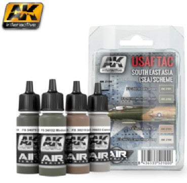 AK Interactive Air Series: USAF TAC Southeast Asia (Sea) Scheme Acrylic Paint Set (4 Colors) 17ml Bottles