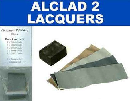 Alclad II Micromesh Polishing Cloth Set (5 diff grades & rubber support block)