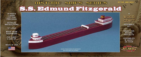 Atlantis Models Ships SS Edmund Fitzgerald Great Lakes Freighter Basswood Kit