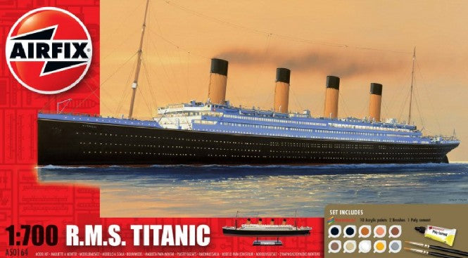 Airfix Ship Models 1/700 RMS Titanic Ocean Liner Medium Gift Set w/Paint & Glue (Re-Issue) Kit