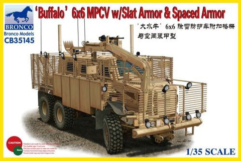 Bronco Military 1/35 Buffalo 6x6 MPCV Multi-Purpose Crew Vehicle w/Slat Armor & Spaced Armor Kit