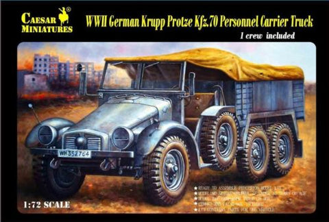 Caesar Miniatures 1/72  WWII German Krupp Protze Kfz 70 Personnel Carrier Truck w/Figure (Kit)