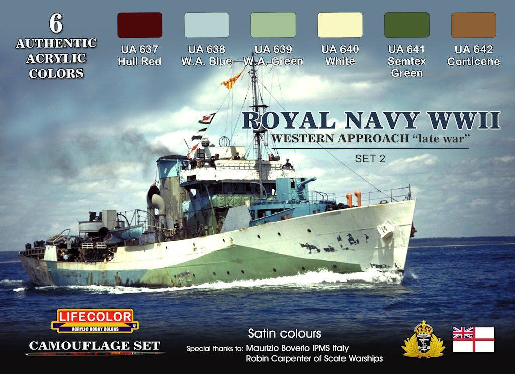 Lifecolor Acrylic Royal Navy WWII Western Approach Late War Set #1 Camouflage Acrylic Set (6 22ml Bottles)