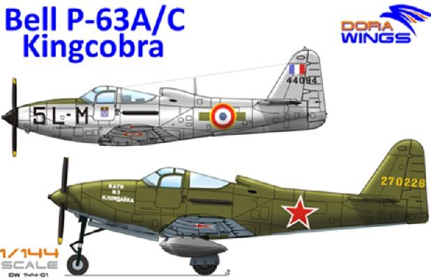 Dora Wings 1/144 Bell P63A/C Kingcobra Aircraft (2 in 1) Kit