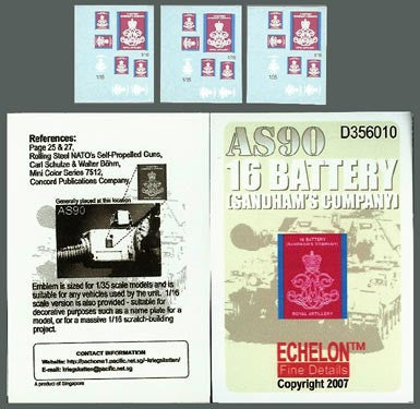 Echelon Decals 1/35 & 1/16 AS90 16 Battery Sandham's Co.