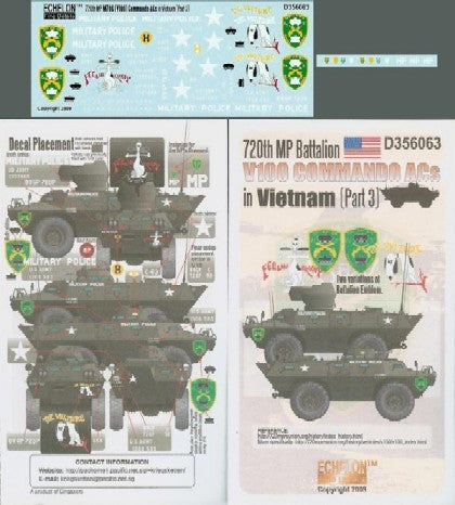 Echelon Decals 1/35 720th MP Battalion V100 Commando ACs Vietnam Pt3