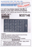 Echelon Decals 1/35 British Mk III Valentine Infantry Tank Mirrors for AFV (Peel & Stick)