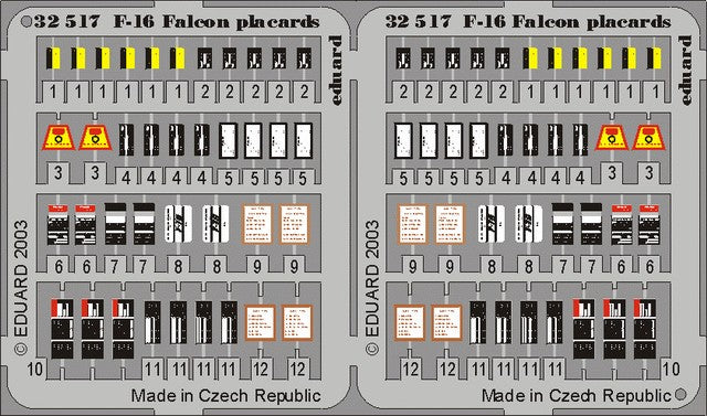Eduard Details 1/32 Aircraft- F16 Placards for HSG (Painted)