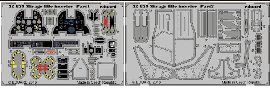 Eduard Details 1/32 Aircraft- Mirage IIIc Interior for ITA (Painted)