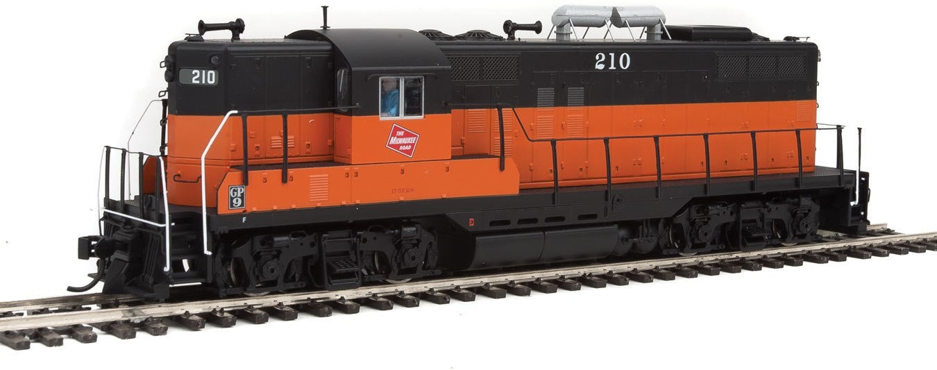 WalthersProto HO EMD GP9 - LokSound Select DCC & Sound - Milwaukee Road #210 (Orange, Black, TMR Logo on Cab)