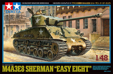 Tamiya Military 1/48 US M4A3E8 Sherman Easy Eight Medium Tank (New Tool) Kit