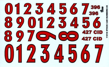 Gofer Decals 1/24-1/25 Stock Car Numbers #2 (Red)