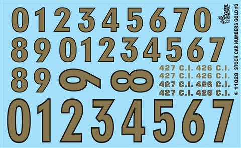 Gofer Decals 1/24-1/25 Stock Car Numbers #3 (Gold)