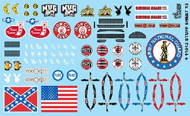 Gofer Decals 1/24-1/25 Stuff Sheet #4 - Confederate/ American Flags, Seatbelts, Mug Root Beer, Playboy Logo, etc.