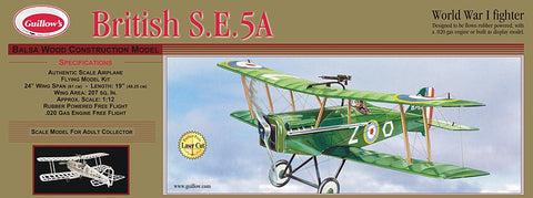 "Guillows 1/14 (24"") Wingspan British SE5A Laser Cut Wooden Kit"