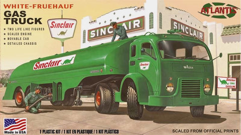 Atlantis Cars 1/48 Sinclair White Gas Truck w/2 Figures Kit (Formerly Revell)
