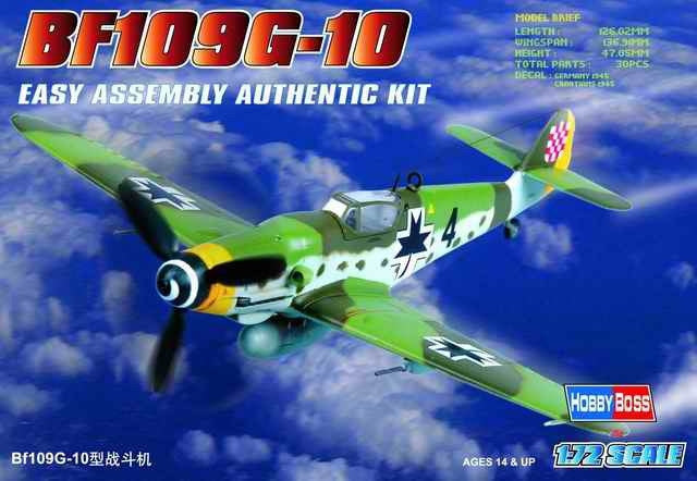 Hobby Boss Aircraft 1/72 Bf-109G-10 Messerschmitt Kit
