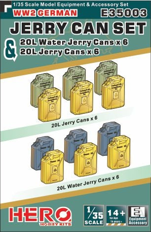 Hero Hobby 1/35 WWII German Jerry Cans (6) & Water Jerry Cans (6) Kit
