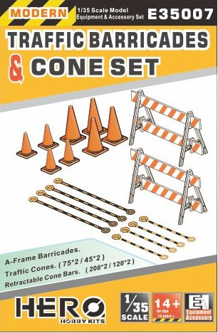 Hero Hobby 1/35 Modern Traffic Barricades (2), Cones (8) & Cone Bars (8) Kit