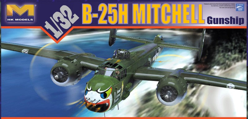 This is a highly detailed plastic assembly model of the HK Models 1/32 Scale WWII USAAF B25H General Billy Mitchell Gunship Medium Bomber aircraft