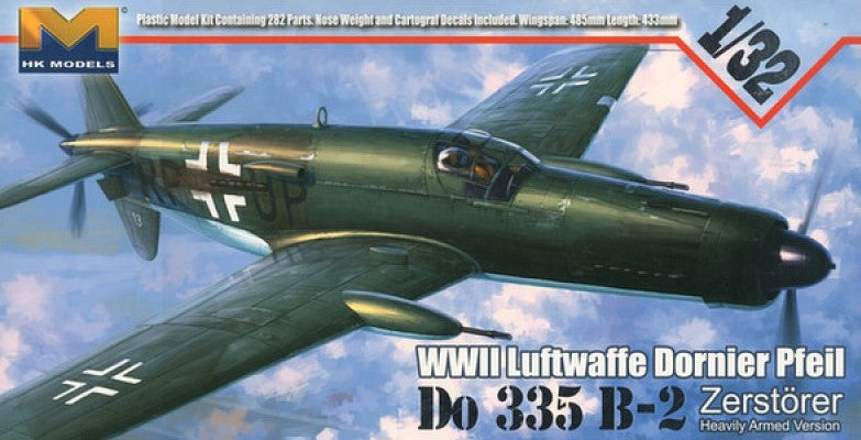 This is a highly detailed plastic model kit of the HK Models 1/32 scale German Luftwaffe WWII Dornier Do.335B-2 Interceptor aircraft