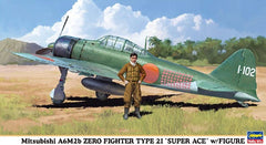Hasegawa Aircraft 1/48 Mitsubishi A6M2b Zero Type 21 Super Ace Fighter w/Figure Ltd Edition Kit
