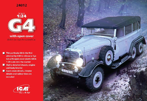 ICM Military Models 1/24 WWII German G4 Personnel Car w/Open Cover Kit