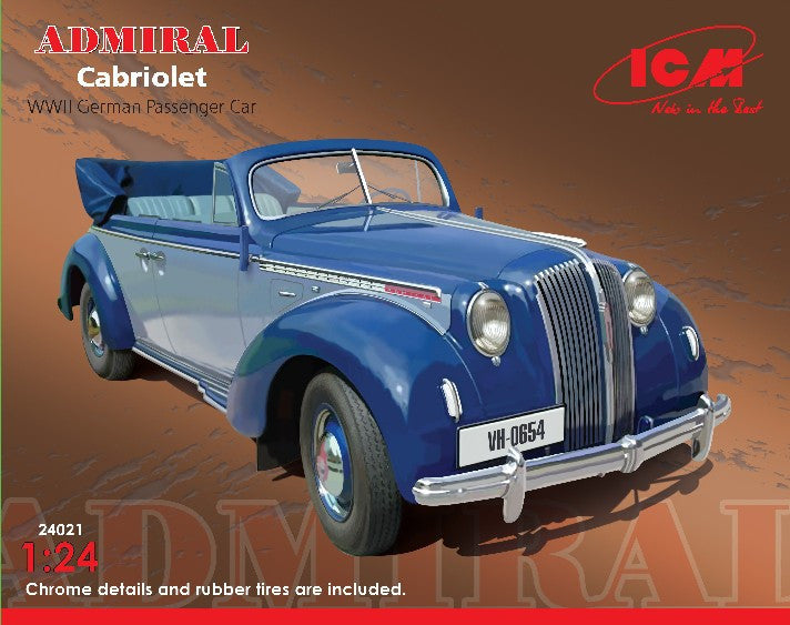 ICM Military Models 1/24 WWII German Admiral Convertible Passenger Car Kit