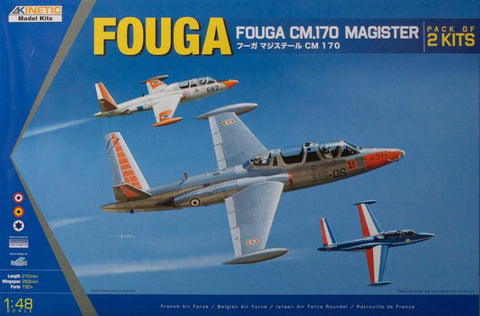 Kinetic Aircraft 1/48 Fouga Magister Kit CM. 170 (Parts For Two Kits Included)