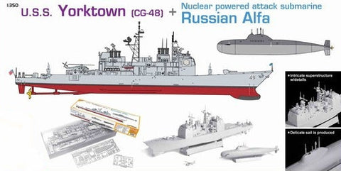 Dragon Model Ships 1/350 USS Yorktown CG48 Cruiser & Alfa Russian Nuclear Submarine Kit