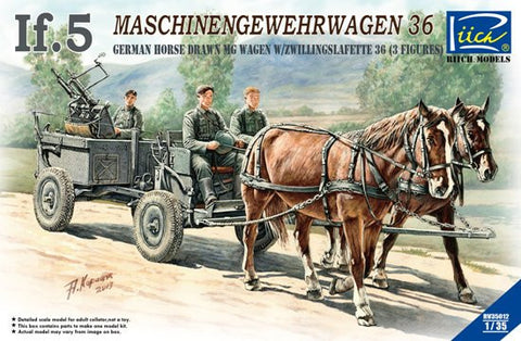 Riich Military 1/35 German If.5 Horse Drawn MG Wagon with Zwillingslafette 36 (2 horses & 3 figures) Kit