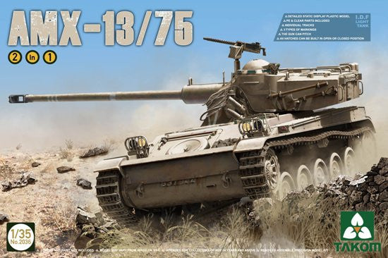 Takom Military 1/35 I.D.F Light Tank AMX-13/75 (2 in 1) Kit