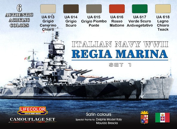 Lifecolor Acrylic Italian Navy WWII Camouflage Acrylic Set (6 22ml Bottles)