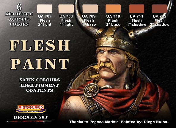 Lifecolor Acrylic Flesh Tones Diorama Acrylic Set (6 22ml Bottles)