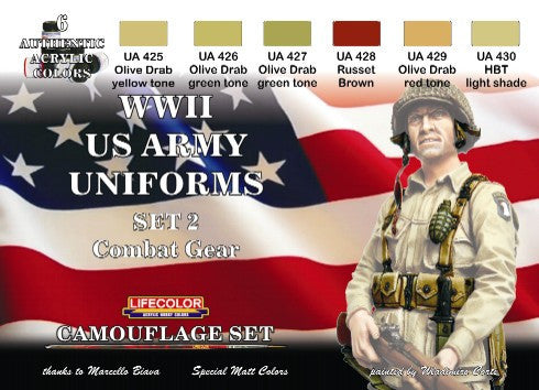 Lifecolor Acrylic US Army WWII Combat Gear Uniforms #2 Camouflage Acrylic Set (6 22ml Bottles)
