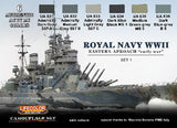 Lifecolor Acrylic Royal Navy WWII Eastern Approach Early War Set #1 Camouflage Acrylic Set (6 22ml Bottles)