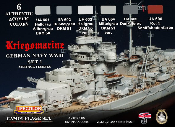 Lifecolor Acrylic German WWII Kriegsmarine #1 Camouflage Acrylic Set (6 22ml Bottles)