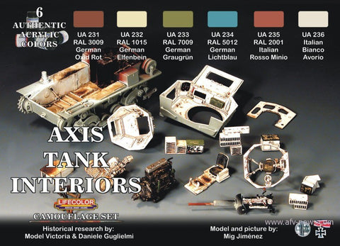 Lifecolor Acrylic Axis WWII Tank Interiors Camouflage Acrylic Set (6 22ml Bottles)