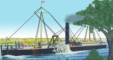 Lindberg Model Ships 1/96 Fulton's Clermont Side-Wheel Powered Steamboat Kit