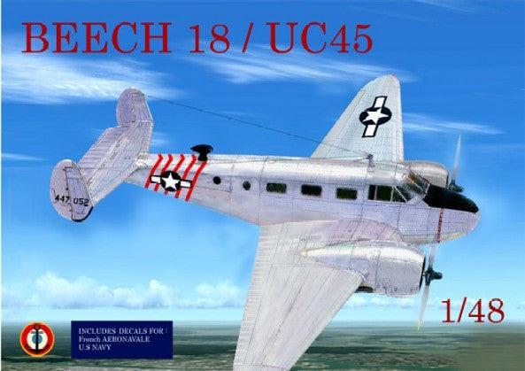 Mach-2 Aircraft 1/48 Beechcraft 18/UC45 Twin-Engine Aircraft Kit