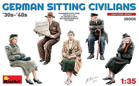 MiniArt Military Models 1/35 German Civilians Sitting 1930-40s (5) Kit