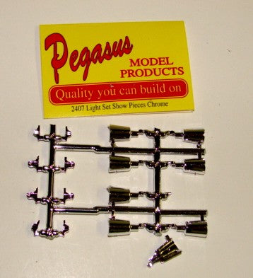 Pegasus Hobbies Cars 1/24-1/25 Show Pieces Chrome Light Set (4)