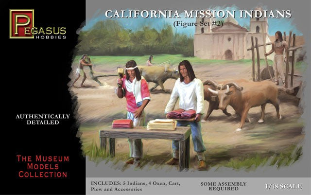 Pegasus Military 1/48 California Mission Indians Set #2 (5 w/4 Oxen, Cart, Plow) Kit