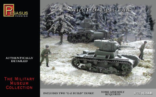 Pegasus Military 1/72 Soviet T26 Tank (2) Snap Kit