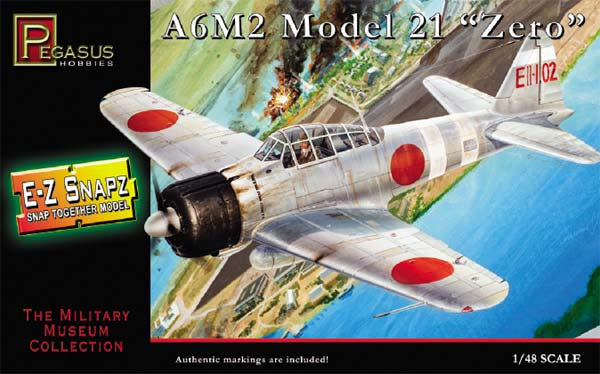 Pegasus Hobbies Aircraft 1/48 A6M2 Mod 21 Zero Fighter Snap Kit