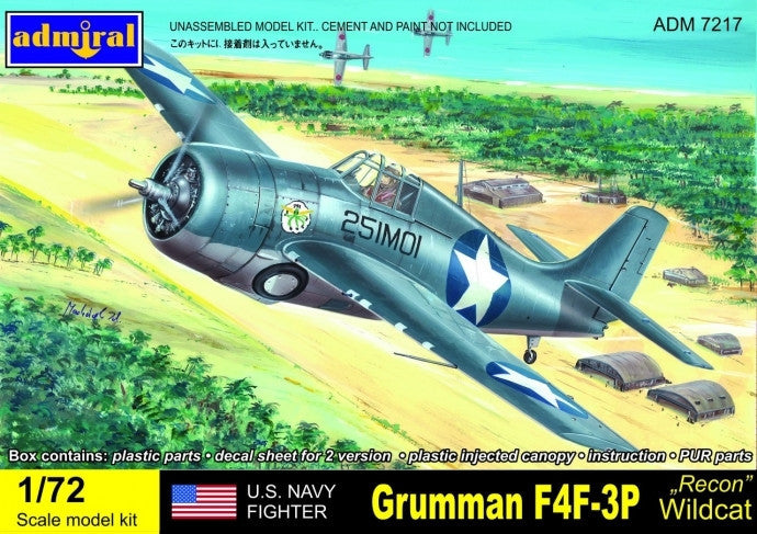 Admiral Models Aircraft 1/72 F4F3P Wildcat USN Recon Fighter Kit